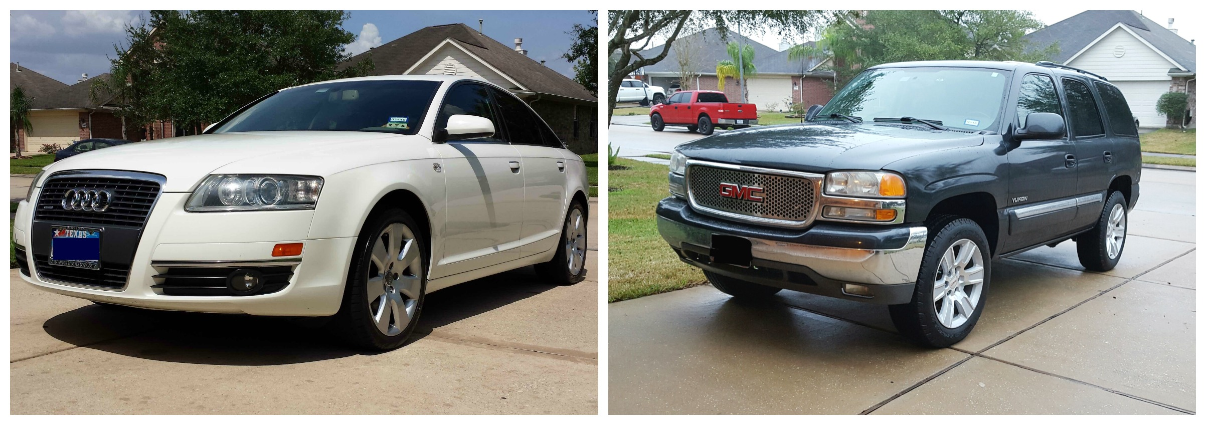 The car on the left had a payment and the car on the right is completely paid off!