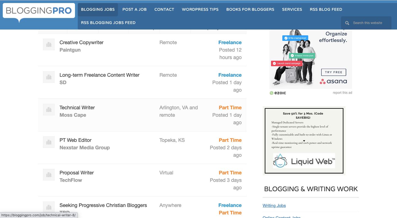 Blogging Pro Jobs Feed