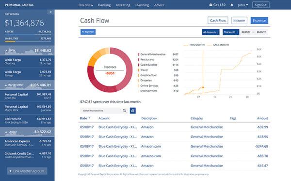 Personal Capital cash flow