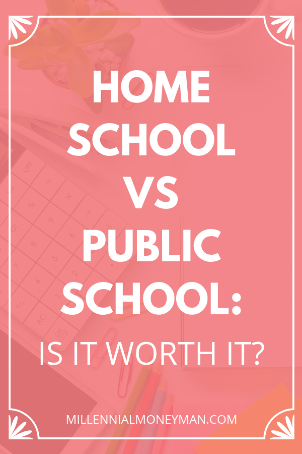 Click through to read one mom's thoughts on the financial and emotional costs of homeschool vs. public school. #kidsandmoney
