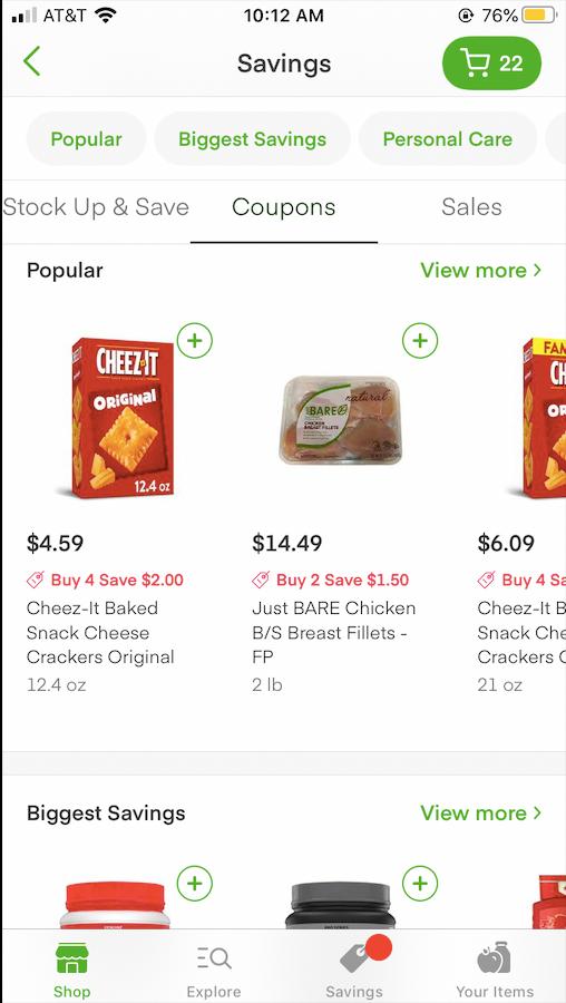 Instacart Grocery costs
