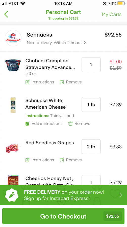 Instacart - Review What's In Your Cart