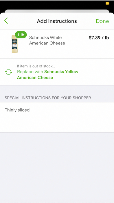Instructions When Ordering Deli Cheese at Instacart