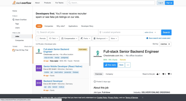Stack Overflow Job Listing