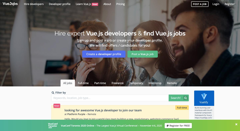 VueJobs Site