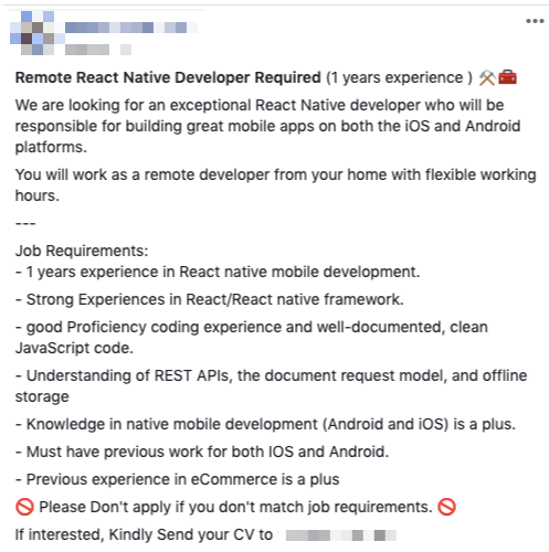 Job Listing in Facebook