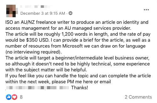 Facebook Female Freelancers Writers Group Sample Job Listing