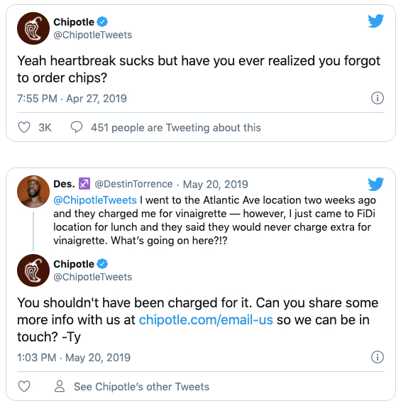 Chipotle responding to complaint on Twitter