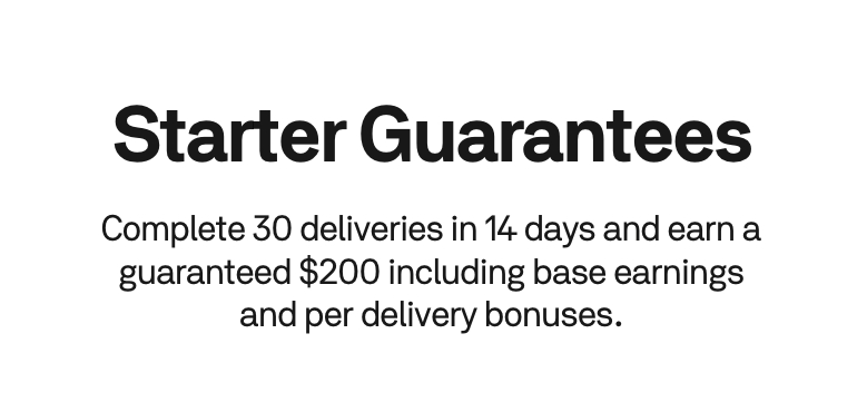 Example of Postmates Starter Guarantees