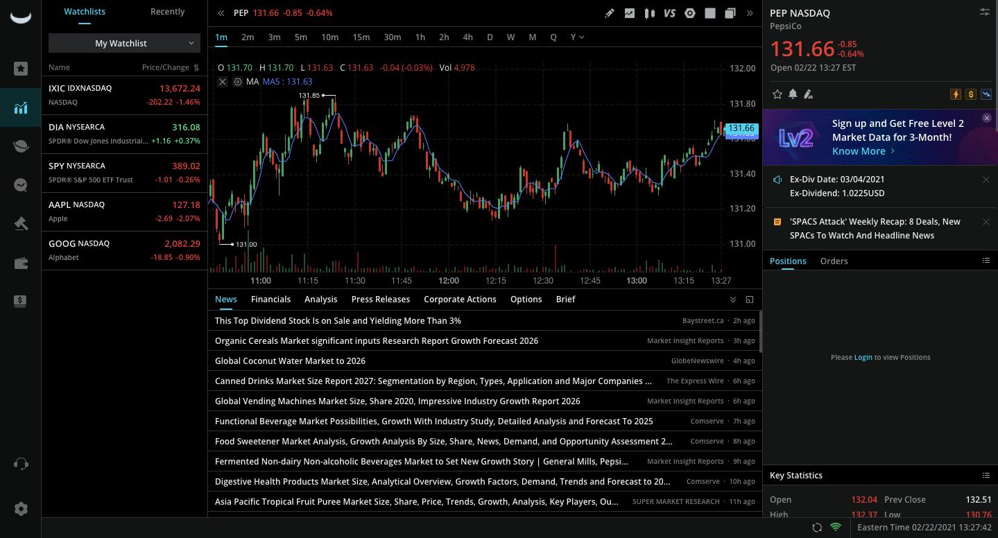 Preview of Webull's trading platform