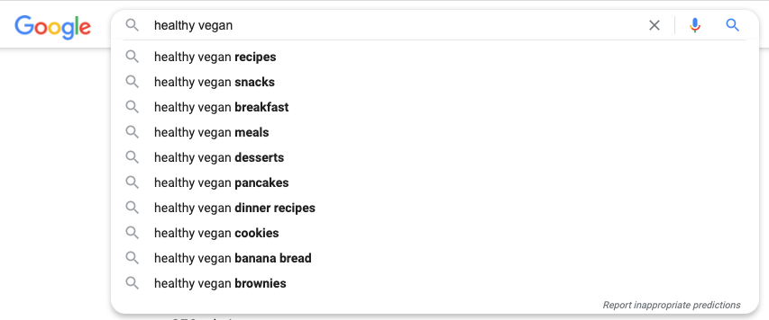 Healthy vegan search results