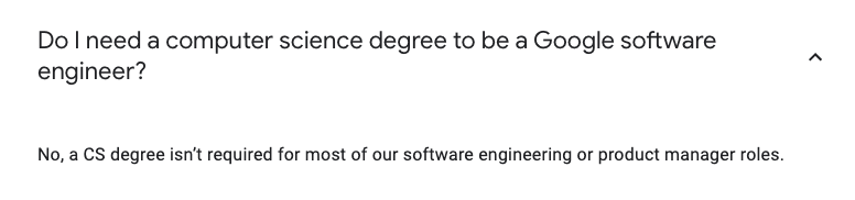Computer science degree not necessary for Google