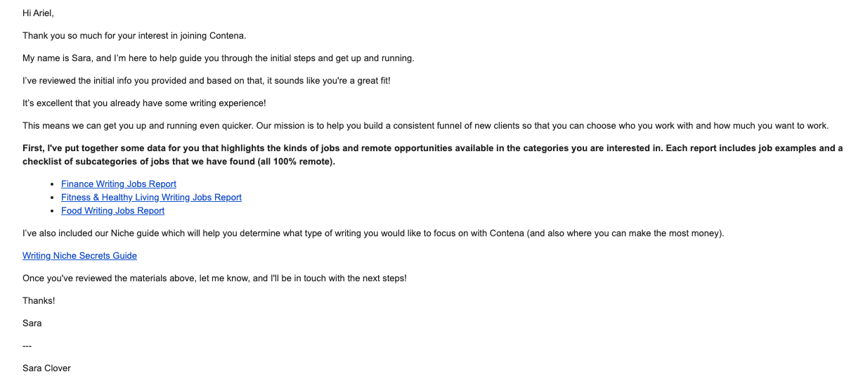 Sample Email From Contena