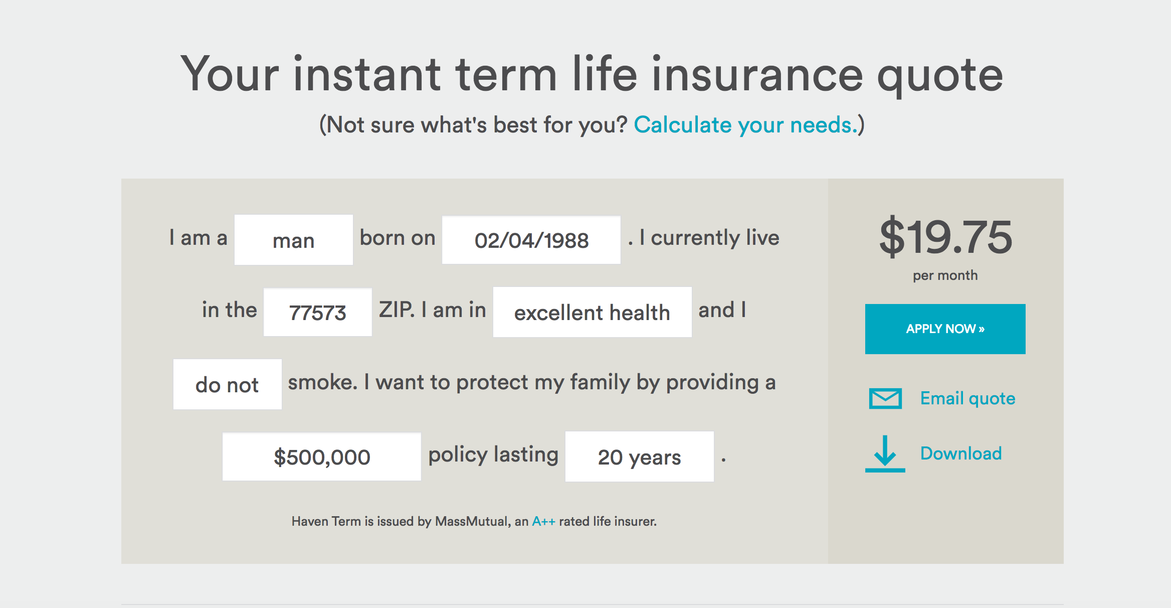 Instant Online Life Insurance Quote Mass Mutual Life Insurance Quote Unique Of Haven Life Buy A Term