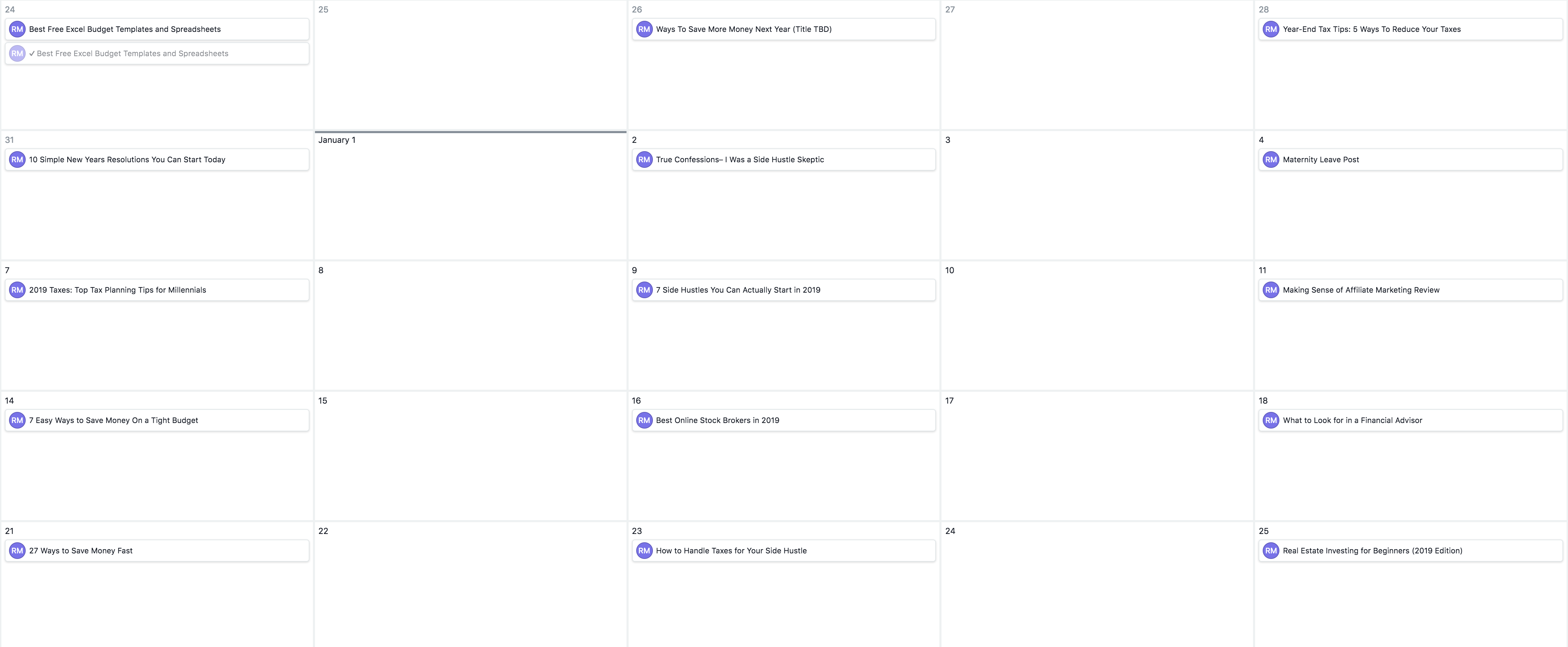 This is the blog content calendar that I use on Asana for Millennial Money Man
