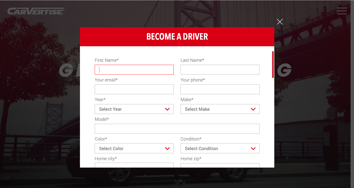 become a driver in carvertise
