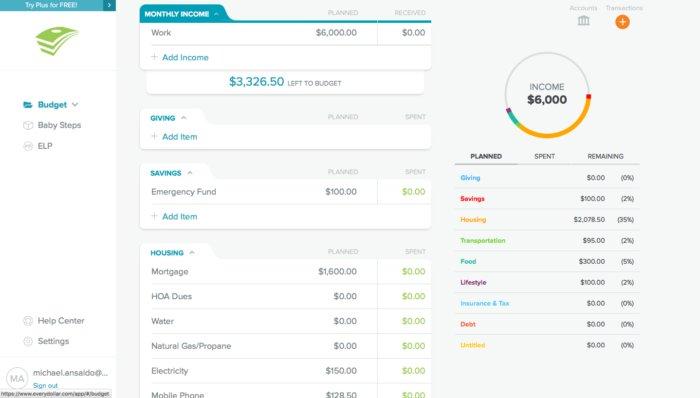 EveryDollar dashboard screenshot