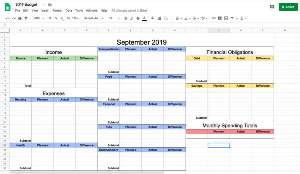 How to Make a Budget Spreadsheet in Google Sheets (Step-By-Step Guide for 2019)