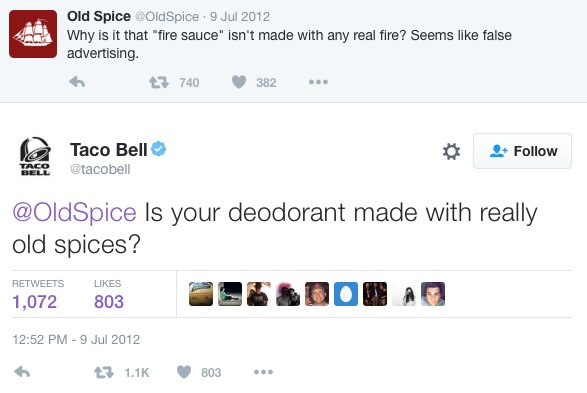 Old Spice and Taco Bell Twitter Account