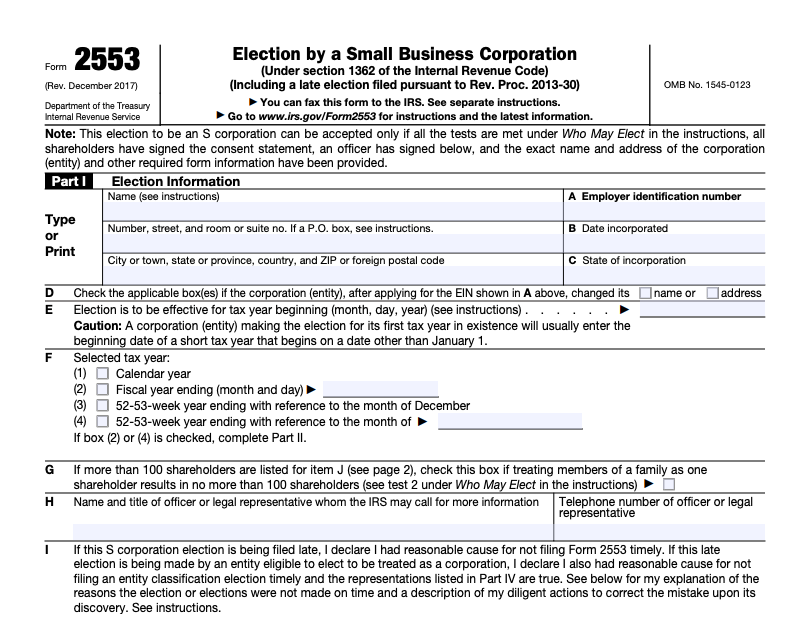 IRS Form 2553