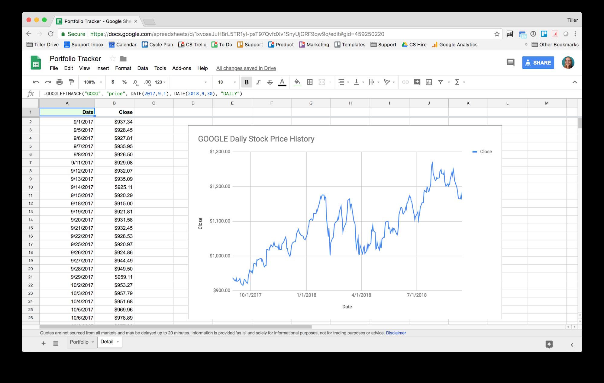 Tiller Portfolio Tracker